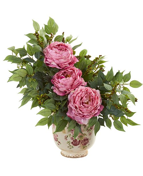 Nearly Natural Peony and Mixed Greens Artificial Arrangement in Vase