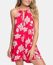 Juniors' Printed Open-Back Romper