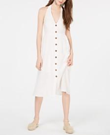 Teeze Me Juniors' Buttoned Halter-Neck Midi Dress