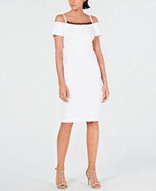 Calvin Klein Lace-Trim Off-The-Shoulder Dress