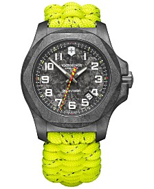 LIMITED EDITION Victorinox Swiss Army Men's Swiss INOX Carbon LE Neon Yellow Paracord Strap Watch 43mm & Box Set, Created for Macy's