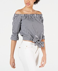 Maison Jules Printed Off-The-Shoulder Crop Top, Created for Macy's