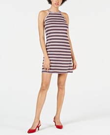 Maison Jules Striped Halter Shift Dress, Created for Macy's