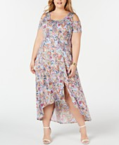e39e0e2c9f56 NY Collection Plus and Petite Plus Size Printed Cold-Shoulder Maxi Dress