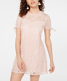 Speechless Juniors' Short-Sleeve Lace Shift Dress