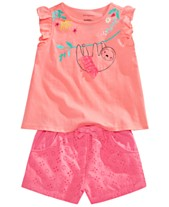 dd096b03c866 First Impressions Baby Girls Graphic Top, Ruffle Top & Eyelet Shorts  Separates, Created for