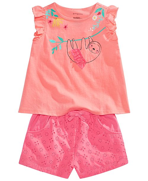 First Impressions Baby Girls Graphic Top, Ruffle Top & Eyelet Shorts Separates, Created for Macy's