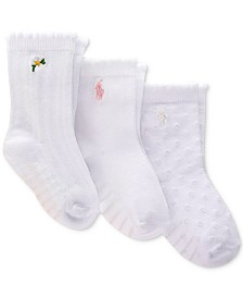 Polo Ralph Lauren Baby Girls 3-Pk. Daisy Scalloped-Edge Flat-Knit Crew Socks