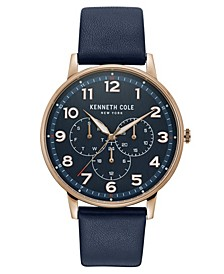 Men's Leather Strap with Multifunction Dial, 42MM