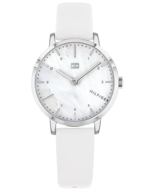 Tommy Hilfiger Women's White Leather Strap Watch 30mm, Created for Macy's