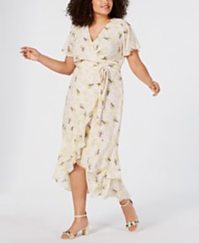 RACHEL Rachel Roy Trendy Plus Size Tie-Waist High-Low Maxi Dress