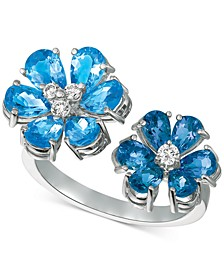 Blue Topaz (4-1/2 ct. t.w.) & Diamond (1/8 ct. t.w.) Cuff Ring in 14k White Gold