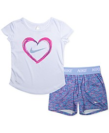 Baby Girls 2-Pc. Dri-FIT T-Shirt & Shorts Set
