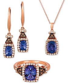 Blueberry Tanzanite & Diamond Jewelry Set in 14k Rose Gold