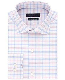Tommy Hilfiger Men's Classic/Regular-Fit Flex Stretch Moisture-Wicking Non-Iron Pink Check Dress Shirt