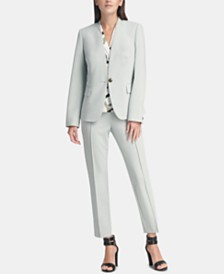 DKNY Single-Button Blazer, Ruched Top & Ankle Pants