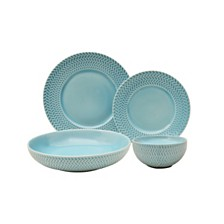 Sango Tweed Ridge Aqua 16 Piece Dinnerware Set