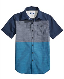 Univibe Big Boys Danbury Regular-Fit Colorblocked End-On-End Stripe Shirt