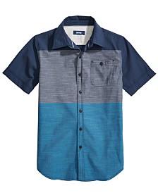 Univibe Big Boys Danbury Regular-Fit Colorblocked End-On-End Stripe Shirt