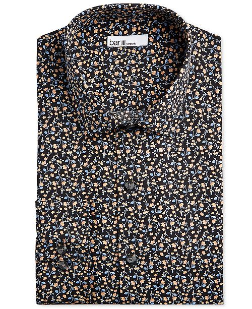 Bar III Men's Slim-Fit Performance Stretch Floral Vine Dress Shirt, Created for Macy's