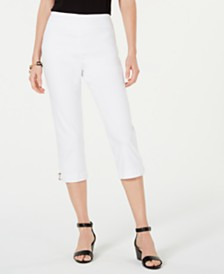 JM Collection Petite Embellished Tummy-Control Capri Pants, Created for Macy's