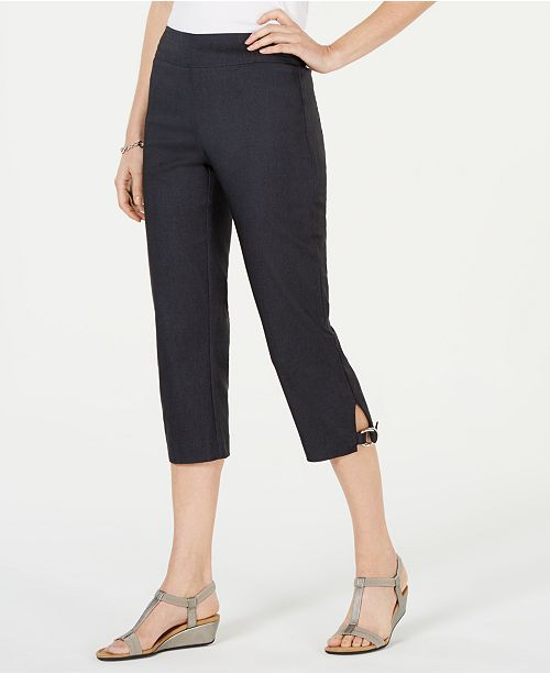 JM Collection Petite Double-Ring-Hem Capri Pants, Created for Macy's