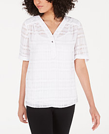 Alfani Petite Plaid V-Neck Top, Created for Macy's