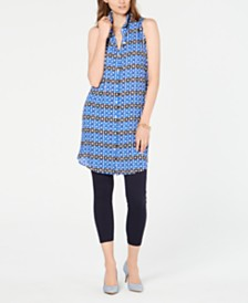 Alfani Convertible Printed Button-Front Tunic, Created for Macy's