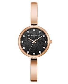 Ladies Rose Gold Bangle Bracelet Watch with Floral Etched Dial