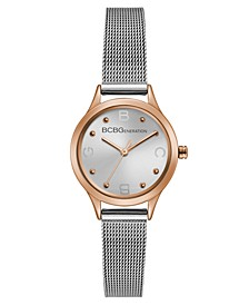 Ladies Silver Mesh Bracelet Watch with Rose Gold Case