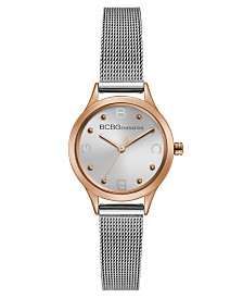 BCBGeneration Ladies Silver Mesh Bracelet Watch with Rose Gold Case