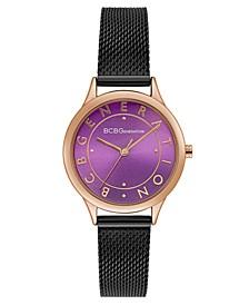 Ladies Black Mesh Bracelet Watch with Purple Dial