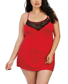 Dreamgirl Plus Size Soft Jersey Chemise With Lace Insets