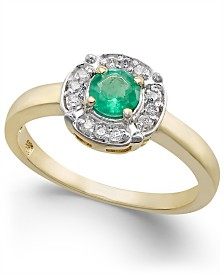 Emerald (3/8 ct. t.w.) & Diamond (1/10 ct. t.w.) Ring in 10k Gold