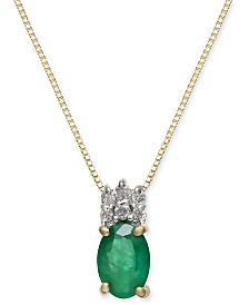 "Emerald (3/4 ct. t.w.) & Diamond Accent 18"" Pendant Necklace in 14k Gold"