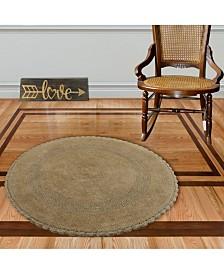 """Saffron Fabs Crochet Lace Border 36"""" Reversible Cotton Round Bath Rug"""