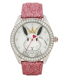 Betsey Johnson Bunny Rabbit Motif Dial & Pink Strap Watch