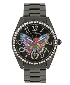 Betsey Johnson Butterfly Motif Dial Gunmetal Watch