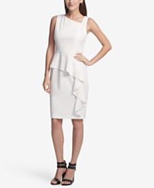 DKNY Asymmetric Neck Peplum Sheath Dress