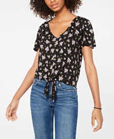 Hippie Rose Juniors' Printed Tie-Waist T-Shirt