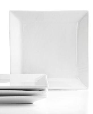 Set of 4 Whiteware Square Appetizer Plates, Created for Macy's