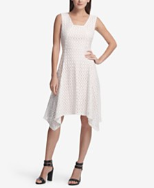 DKNY Lace Handkerchief Hem Dress