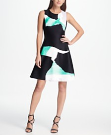 DKNY Graphic Print Scuba Fit & Flare Dress