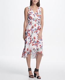 DKNY Floral Chiffon Wrap Midi Dress