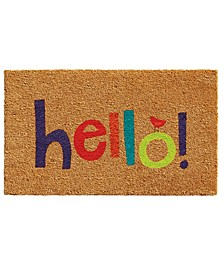 """Colorful Hello 17"""" x 29"""" Coir/Vinyl Doormat"""