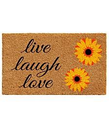 "Sunflower Live Laugh Love 24"" x 36"" Coir/Vinyl Doormat"