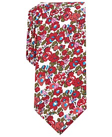 Bar III Men's Charter Skinny Floral Tie, Created for Macy's