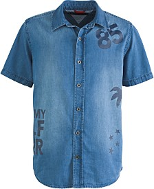 Tommy Hilfiger Big Boys Larry Logo-Print Denim Shirt