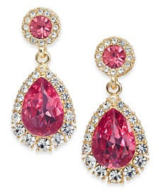 Charter Club Crystal & Stone Drop Earrings, Created for Macy's