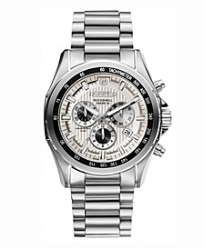 Men's Chronograph 44 mm Dress Watch in Stainless Steel Case and Bracelet